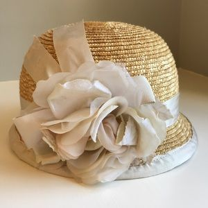 NWOT Straw, grosgrain and silk hat